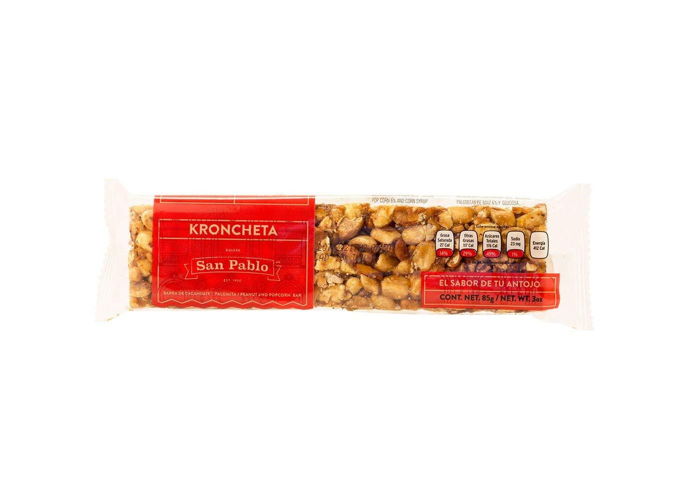 San Pablo Kroncheta - Peanut and Popcorn Bar - Palanqueta 3 Pack (6 pieces of 3 Oz. per pack): Amazon.com: Grocery & Gourmet Food