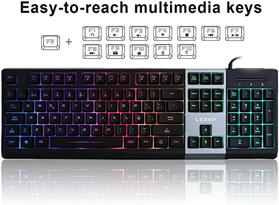 LESHP - Teclado USB Gaming para PC Disposición Española (retroiluminación LED de 7 colores, control por voz, 105 teclas, tiene ñ)