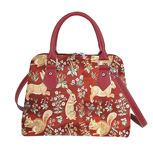 Red Ladies Tapestry Top Handle Handbag by Signare with Mille Fleur, Rabbit and Squirrel (CONV-FORRD)