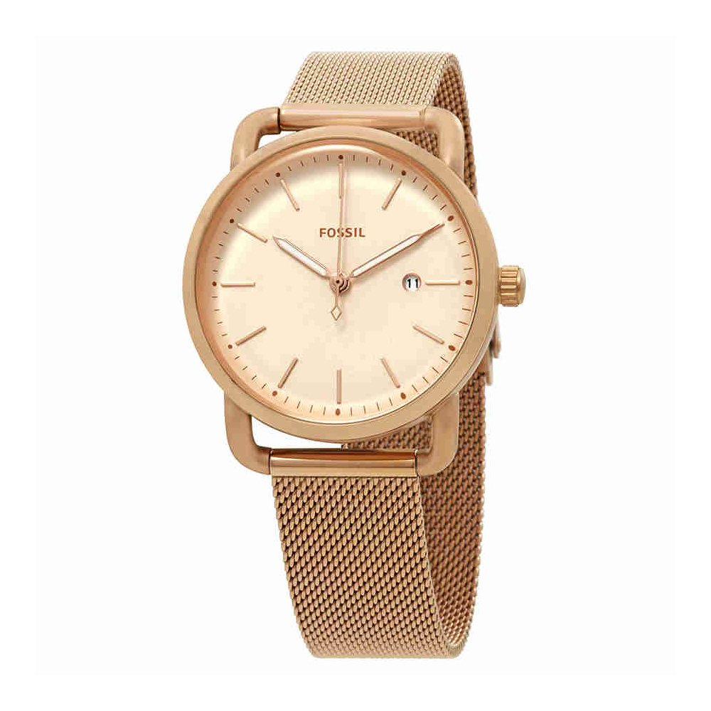 Fossil Women's The Commuter Quartz Stainless Steel Mesh Casual Watch, Color: Rose Gold-Tone (Model: ES4333)