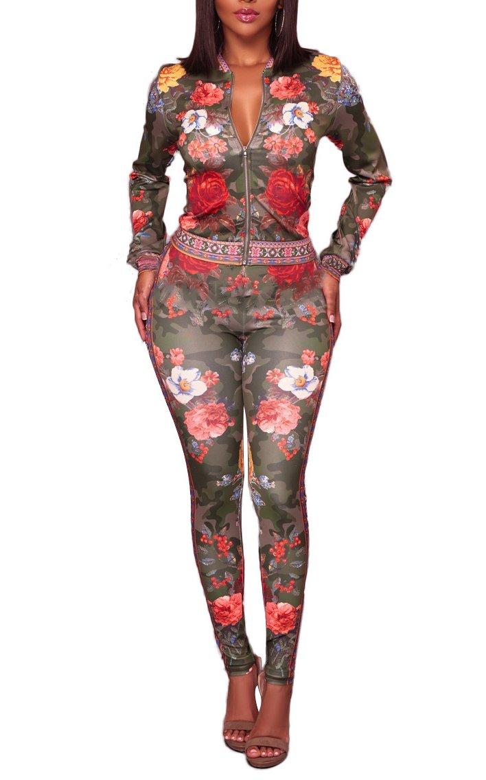 Women's Floral Printed Jumpsuit Romper 2 Piece Zipper Jacket+ Pant Set Green-XL