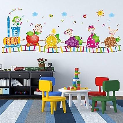 train en forme de fruits chargeant des animaux autocollant mural de pvc la maison papier