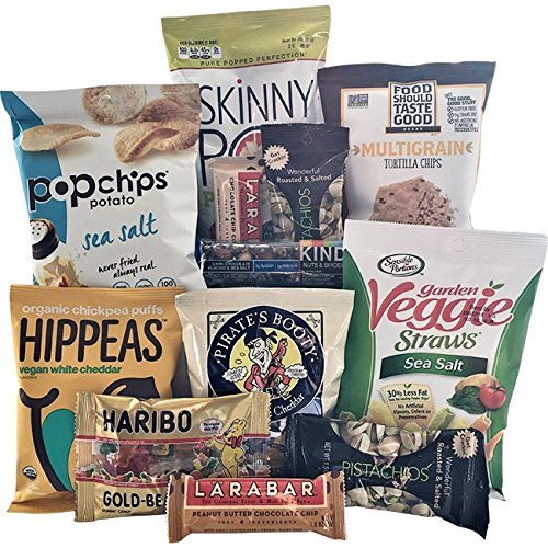 Gluten Free Healthy Snacks Package - Birthdays, Students or Military Care Package - Organic, Gluten Free Chips, Nuts, Candy & Bars -