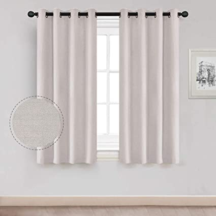 Natural Curtain Short for Living Room, Thermal Insulated Room Darkening  Short Drapes Window Curtains with Grommet for Bedroom 52\