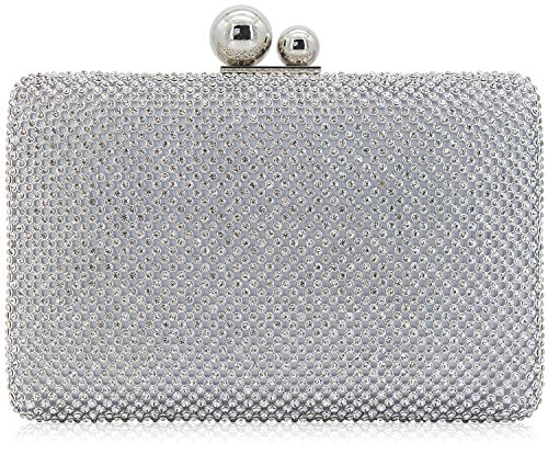 Dexmay Rhinestone Crystal Clutch Evening Bag for Cocktail Prom Party 2 Balls Clasp Women Boxed Purse ()