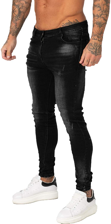GINGTTO Mens Skinny Ripped Jeans Slim Fit Stretch Denim Pants