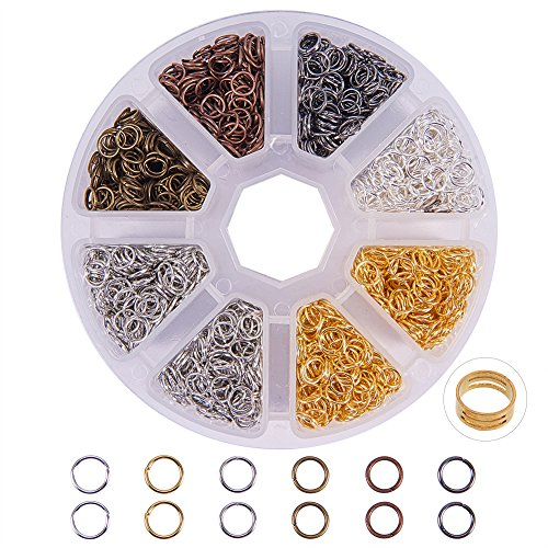 PH PandaHall About 2600 Pcs Jump Rings Diameter 6x7mm Nickel Free Iron Jewelry Connectors Chain Links Multicolor with Box Set Value Pack