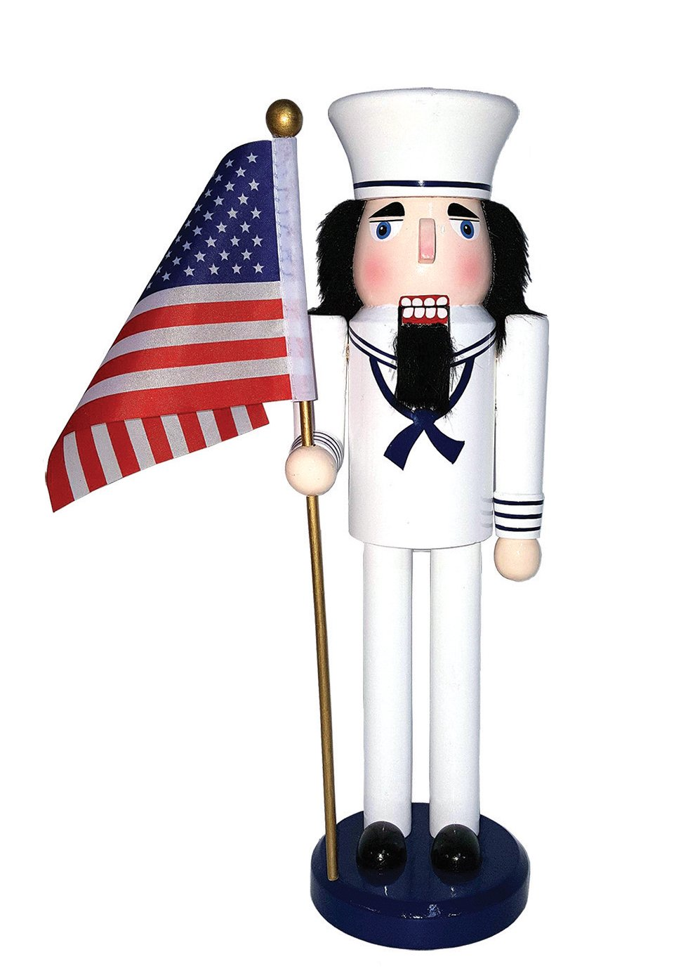 Santa's Workshop 70557 Navy Nutcracker with Flag, 14'', Multi