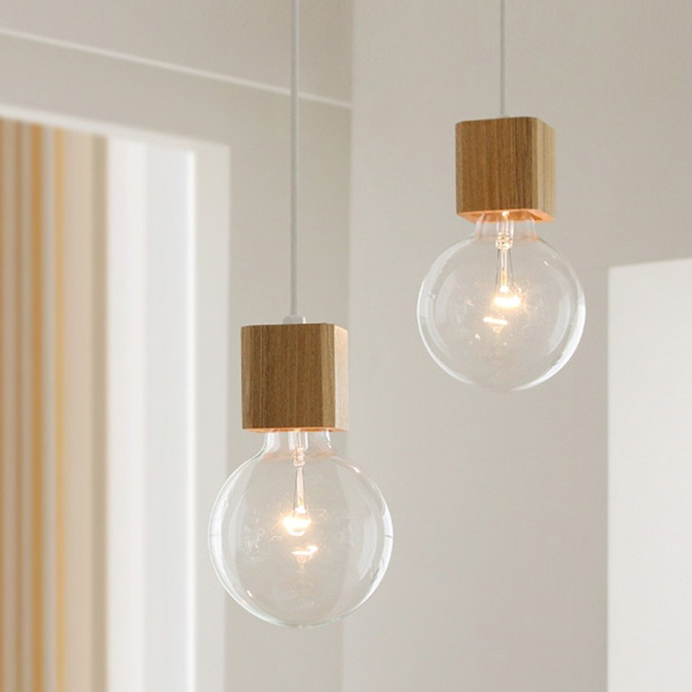 BOKT 1-Light Minimalist Ceiling Pendant Lamp Enjoy DIY Multi-Hanging Lantern kit Natural Wooden Lamp Holder E26/E27 Island by BOKT (Image #3)