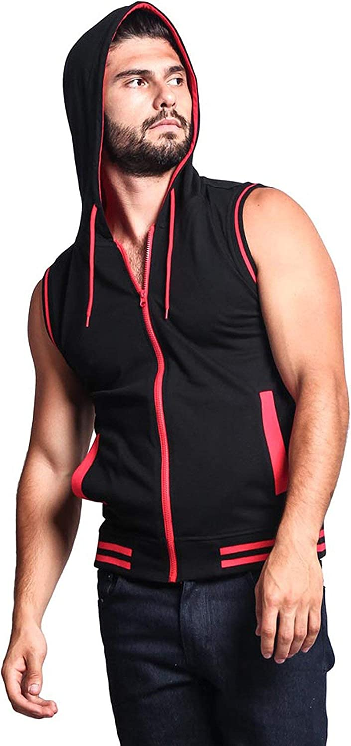 Victorious Mens Lightweight Athletic Casual Sleeveless Contrast Zipper Hoodie