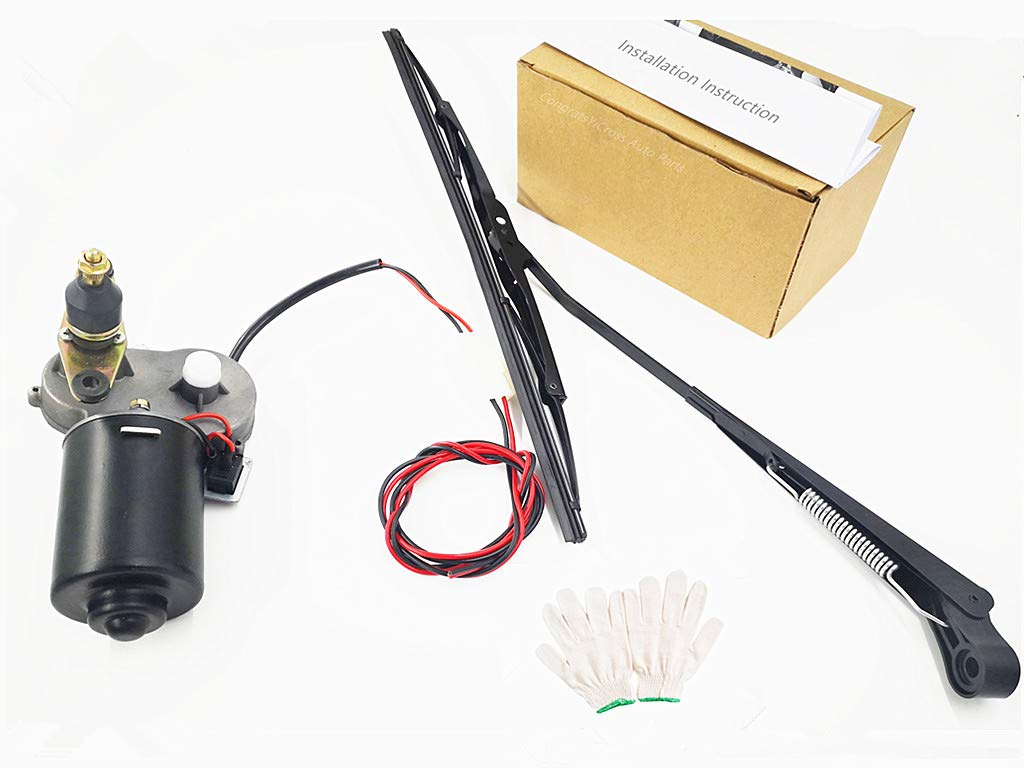 CongratsYiCross2019 Electric UTV Windshield Wiper Kit,with 12V Motor Fit for Polaris Ranger RZR 900 1000 Universal Windshield Wiper Arm 250mm Wiper Blade and Motor with 90 Degree Wipe