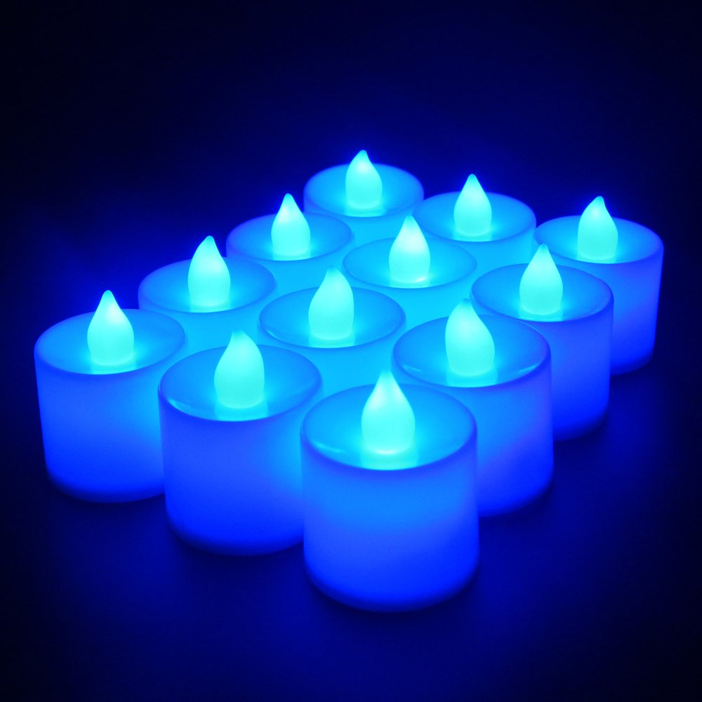Flameless Candles,T-Trees LED Tea Light Candles With Battery-Powered Safety Electric Flickering Bulb Tealight Candles Decorations For Christmas Wedding Birthday Party Celebration (Blue 12pcs)