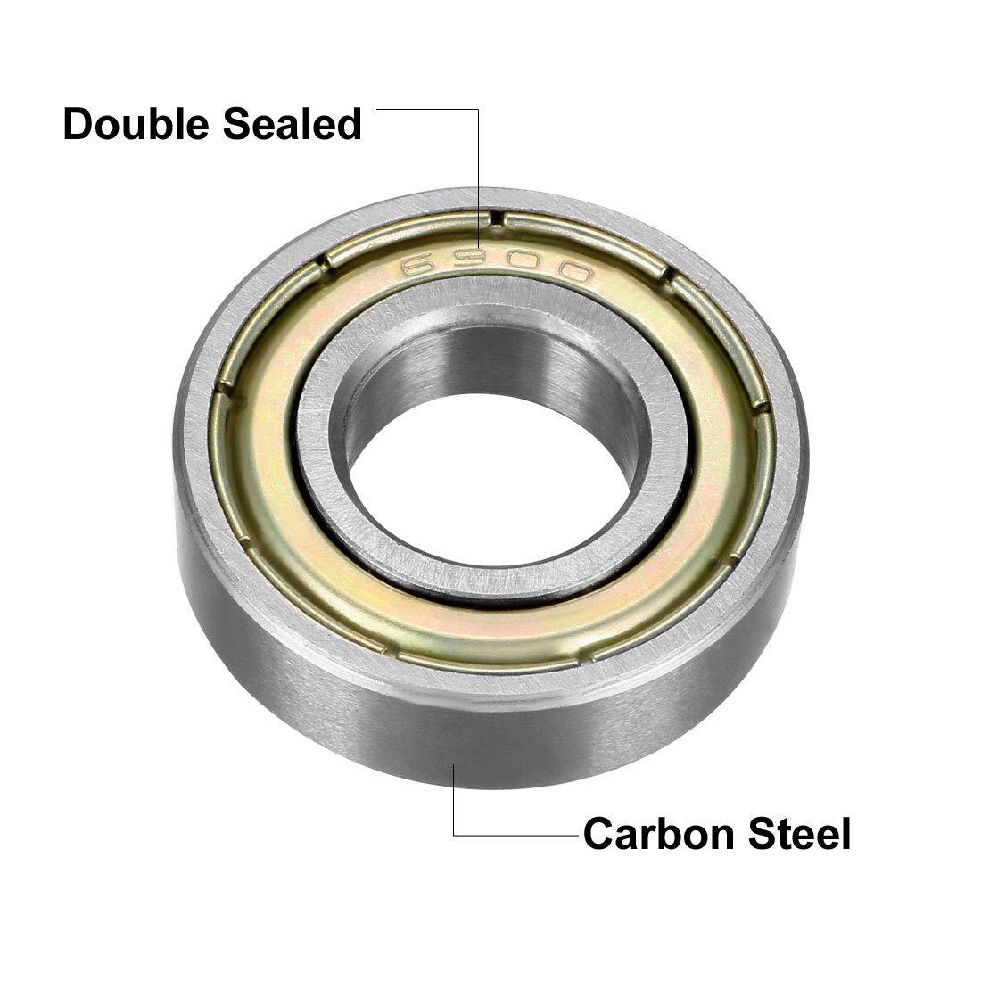 Sourcingmap 6900z Deep Groove Roulement /à billes double Shield 6900zz 1080900 lot de 8 10/mm x 22/mm x 6/mm en acier au carbone Roulements