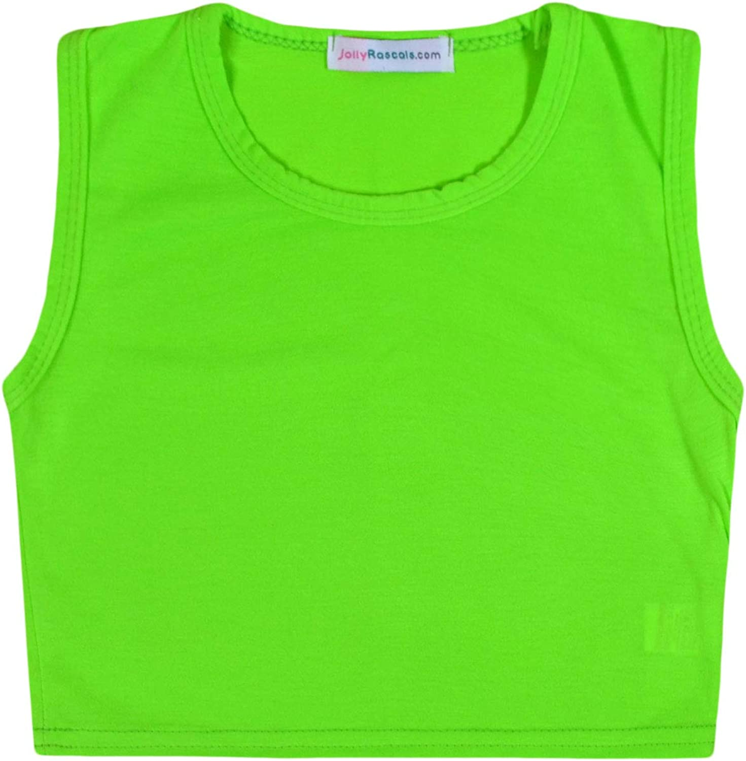JollyRascals Girls Crop Top New Kids Sleeveless Stretch Plain T-Shirt Party Summer Holiday Dance Vest Top 8 Colors Age 5 6 7 8 9 10 11 12 13 Years