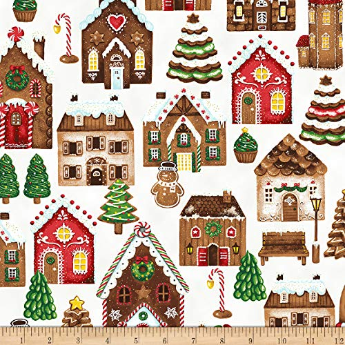 (Hoffman Metallic Candy Cane Lane Gingerbread Houses Snow/Gold Fabric by the Yard)