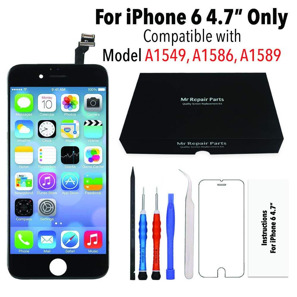 Pantalla con LCD para iPhone 6 (4.7) compatible con modelos A1549, A1586, A1589 (negro)