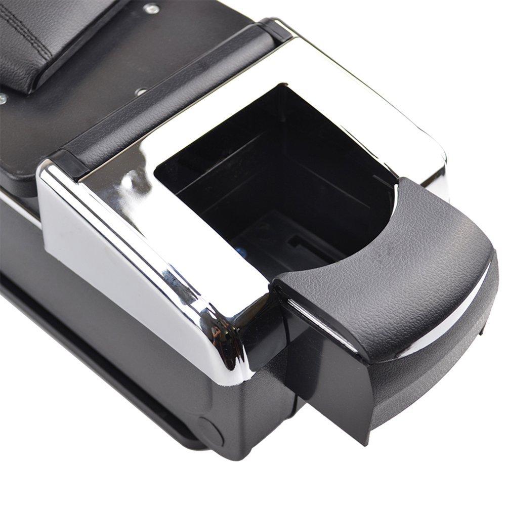 Trim XUKEY Armrest Rotatable Black Leather Center Console Storage ...