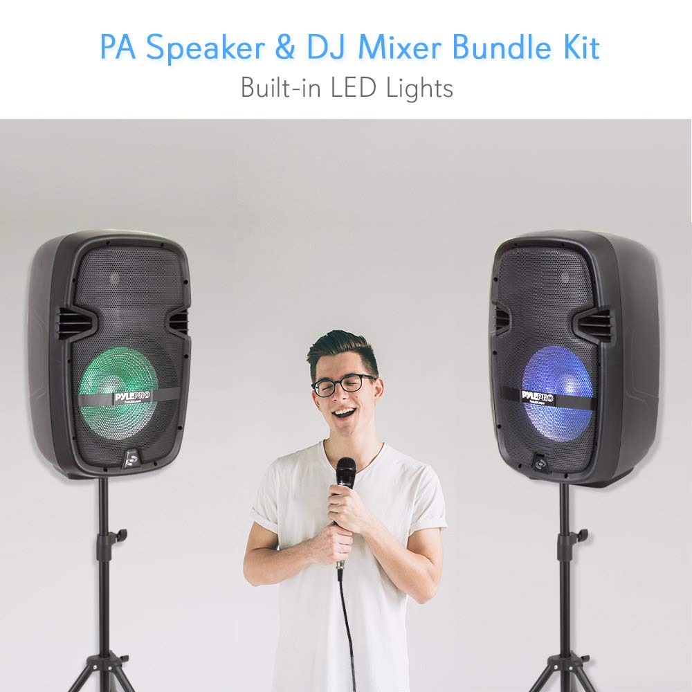 PA Speaker DJ Mixer Bundle - Portable Wireless Bluetooth Sound System with USB SD  XLR 1/4'' RCA Inputs, LED Lights - Dual Speaker, Mixer, Microphone, Stand, Cable - Home / Outdoor - Pyle PPHP210AMX by Pyle (Image #7)