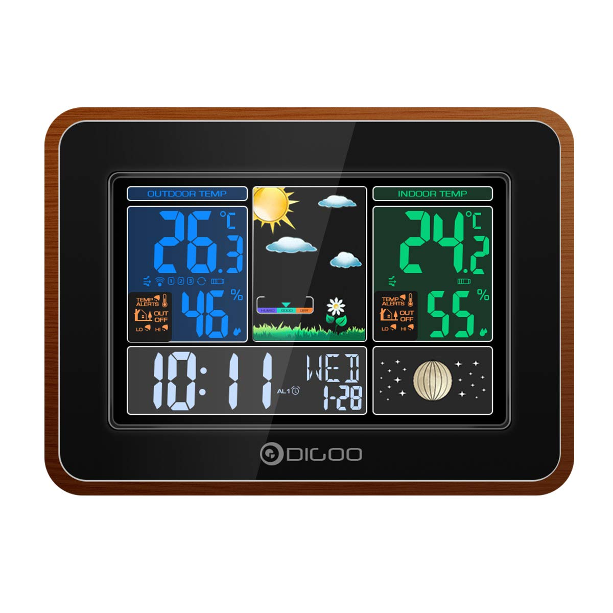 DIGOO DG-TH8878 Wood Grain Color Wireless Weather Station, Indoor Outdoor Hygrometer Thermometer Weather Forecast with USB Charge Port Output, Voice Control, Color Screen Display, Dual Alarm Clock by DIGOO