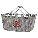 Personalized Solid Reusable Shopping Market Tote Basket Craft Sewing Organizer, Houndstooth
