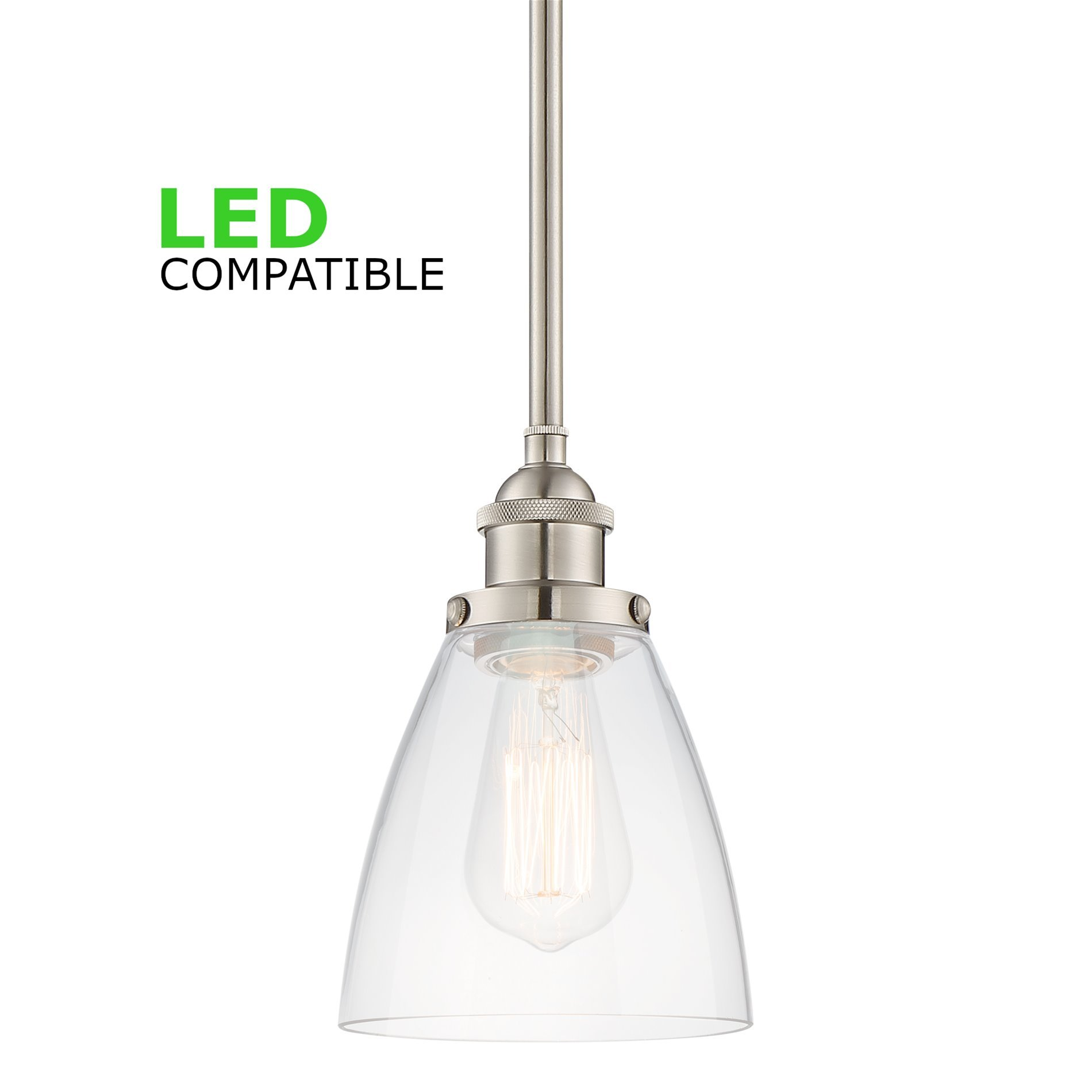Kira Home Porter 8'' Stem-Hung Industrial Pendant Light + Mini Glass Shade, Brushed Nickel Finish