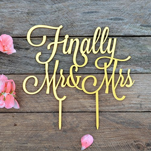 "Wedding Cake toppers Finally Mr and Mrs, Cake Topper Wedding, Mr&Mrs, Finally Cake topper, Anniversary, Cake Decorating Supplies, Gold Silver Black White Mirror (width 5"", gold)"