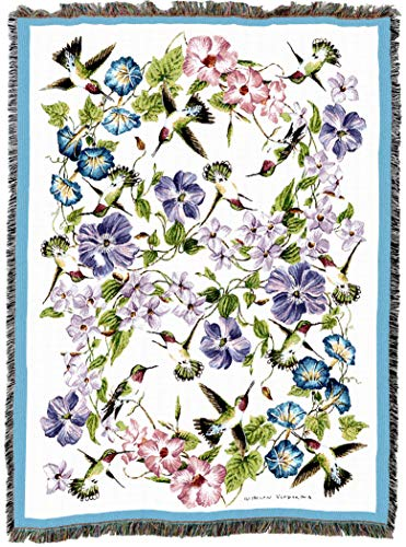 Pure Country Weavers | Hummingbirds Blue Pink Flowers Woven Tapestry Throw Blanket Cotton with Fringe Cotton USA 72x54