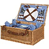 Best Choice Products 4 Person Wicker Picnic Basket Set W/ Cutlery, Plates, Glasses, Tableware & Blanket