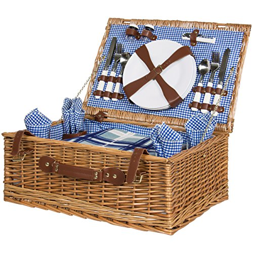 Best Choice Products 4 Person Wicker Picnic Basket Set W Cutlery, Plates, Glasses, Tableware Blanket