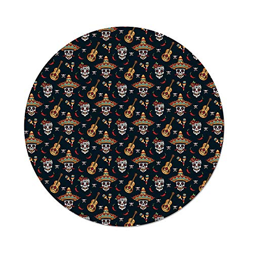 nd Tablecloth,Mexican,Detailed Artistic Floral Sugar Skulls Sombrero Hats Chili Peppers Guitars,Multicolor,Dining Room Kitchen Picnic Table Cloth Cover Outdoor Indoor ()
