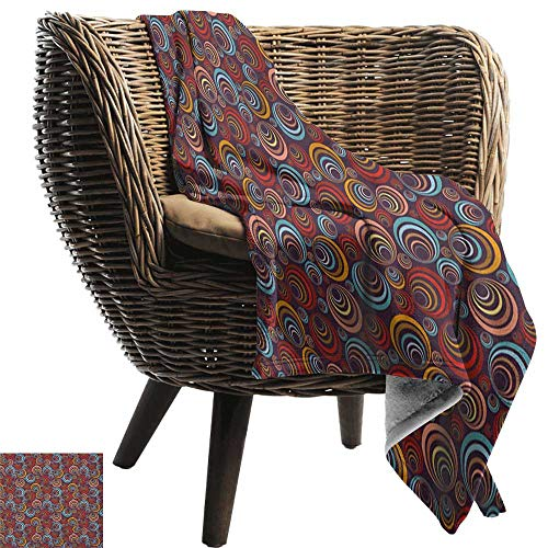 Sunnyhome Abstract,Lightweight Blanket,Circular Spiral Oval Geometric Round Figures with Swirls Retro Artful Graphic 70