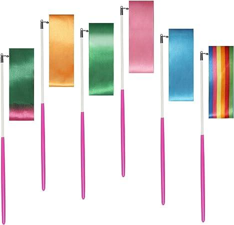 Rubans de Gymnastique Rythmique 1.2m LIHAO Lot de 6pcs Ruban de Danse Formation Activit/és Amusantes Id/éal pour Danse Artistique /Équipement de Gymnastique