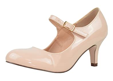 6d49d744458 Chase & Chloe Women's Round Toe Mid Heel Mary Jane Pump (10 B(M) US, Nude  Patent)