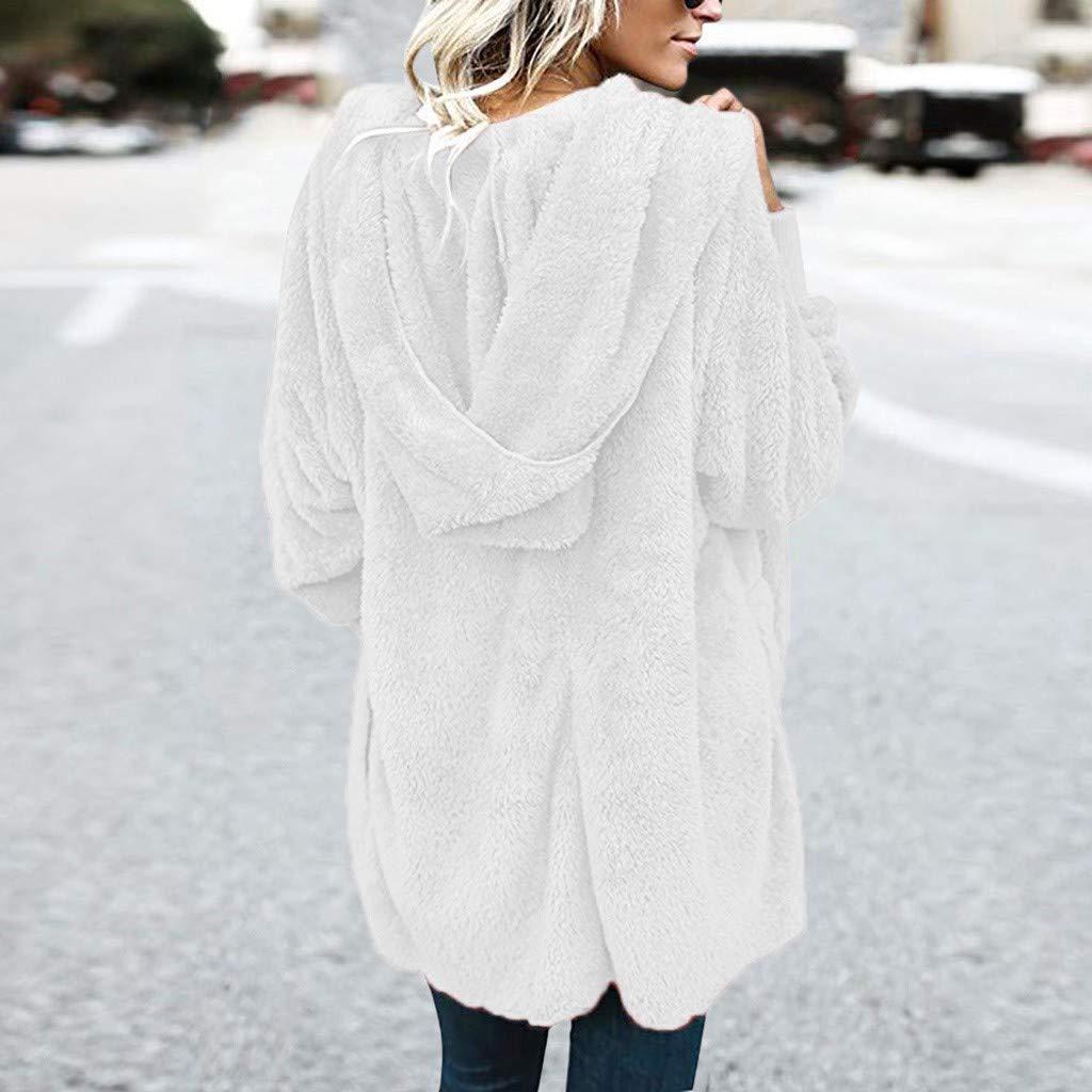 ModaParis Womens Coat Winter Warm Open Front Fleece Fluffy Jacket Outwear with Pockets