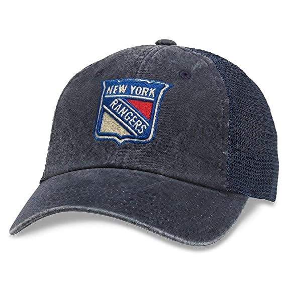 American Needle Raglan Bones NHL Mesh Strapback Hat Navy New York Rangers 41152A-NYR