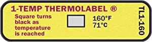 1-Temp Thermolabel 160°F/71°C Temperature Label for Dishwashers Pack of 24 Labels