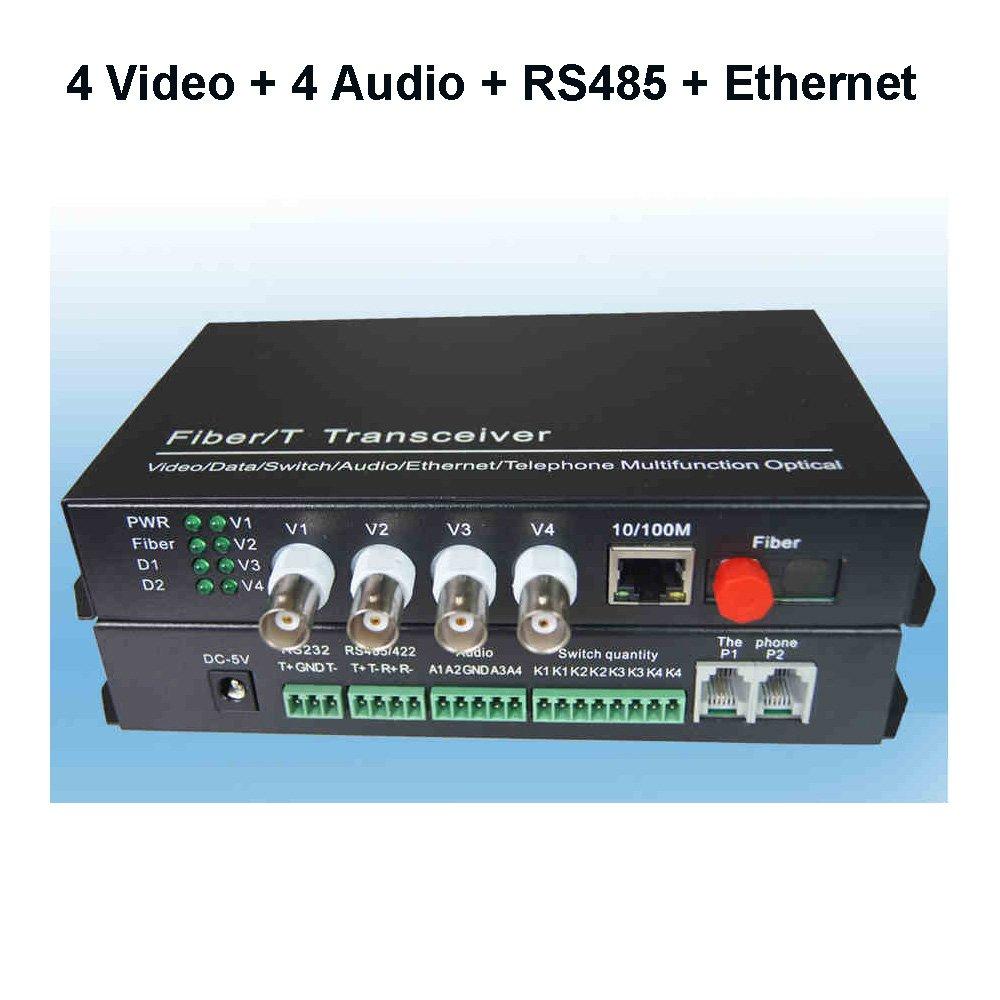 Guantai 4 Video 4 Audio with RS485 Data and 10/100M Ethernet Fiber Optic Media Converter - FC Fiber Port,Singlemode Working Distance 20Km