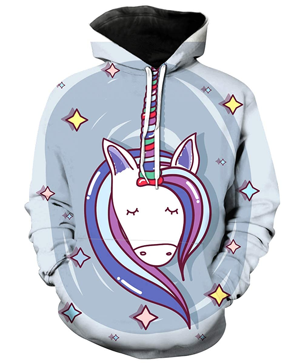 KIDVOVOU Girls Unicorn Hoodie Cartoon Graphic Print Pullover Sweatshirt