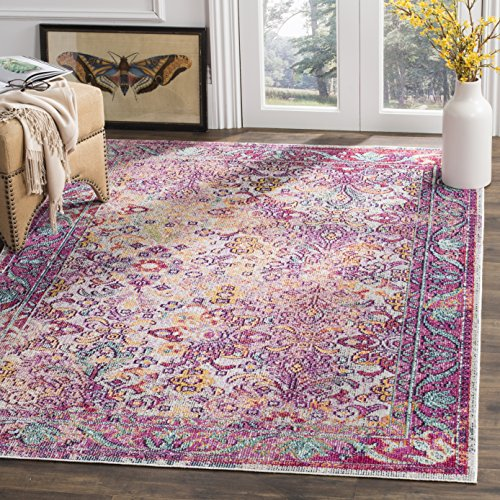 Collection 6 Light Crystal (Safavieh Crystal Collection CRS506B Light Blue and Fuchsia Pink Bohemian Distressed Area Rug (4' x 6'))