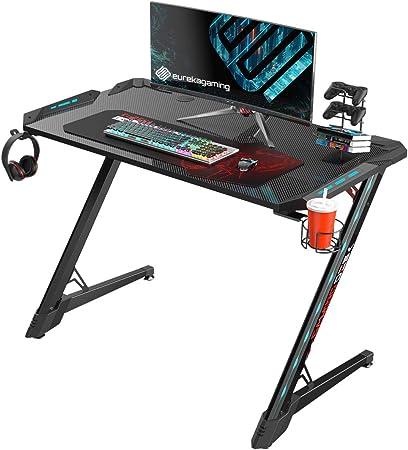 EUREKA ERGONOMIC Z1S-PRO escritorio para videojuegos de 44.5 pulgadas en forma de Z, escritorio para