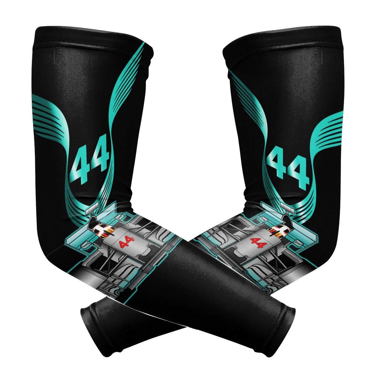 KANATSIU Racing Driver Champio Lewis Hamilton 44 Arm Sleeves,High Performance Athletic Armwarmer Sun Protection Sleeve,1 Pair