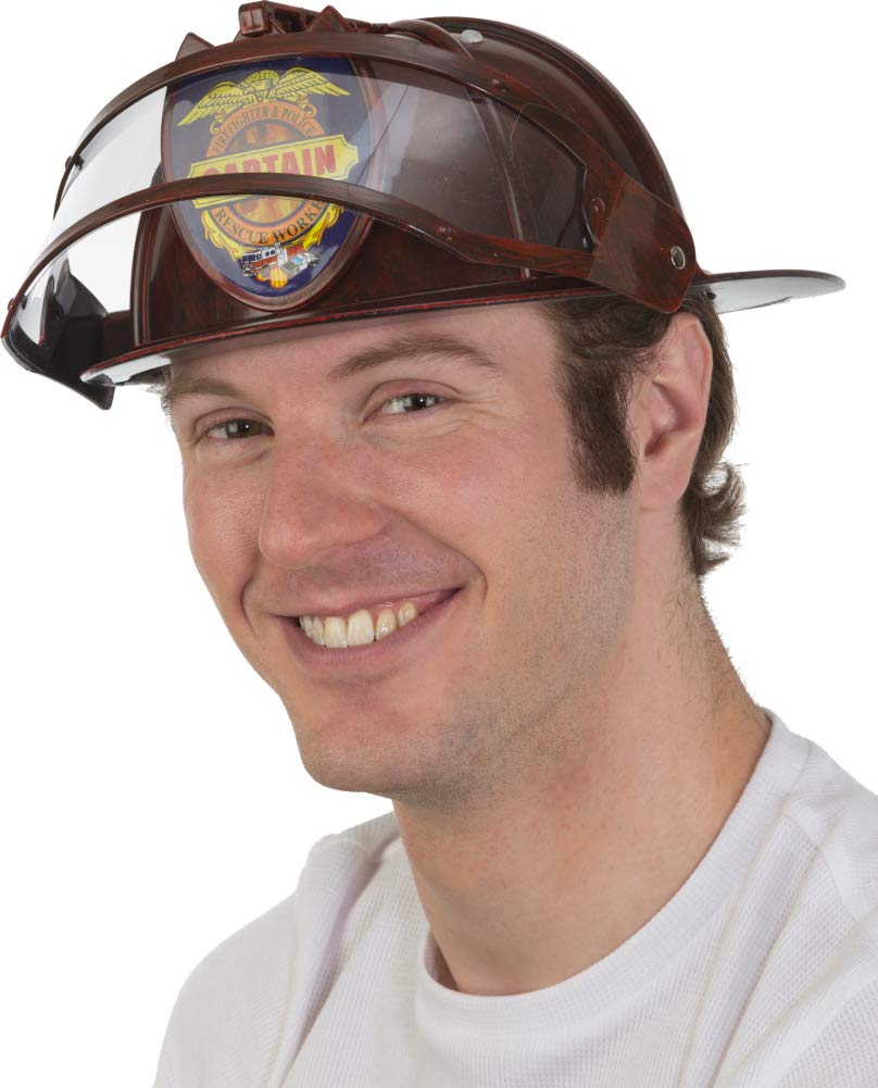 Adult Fireman Helmet w/Visor Fire Chief Fighter Man Firefighter Red Costume Hat by Jacobson Hat Company (Image #1)