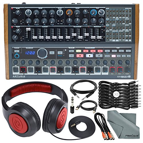 Arturia MINIBRUTE 2S Desktop Semi-Modular Analog Synthesizer/Sequencer w/MIDI & USB and Accessory Bundle with Headphones…