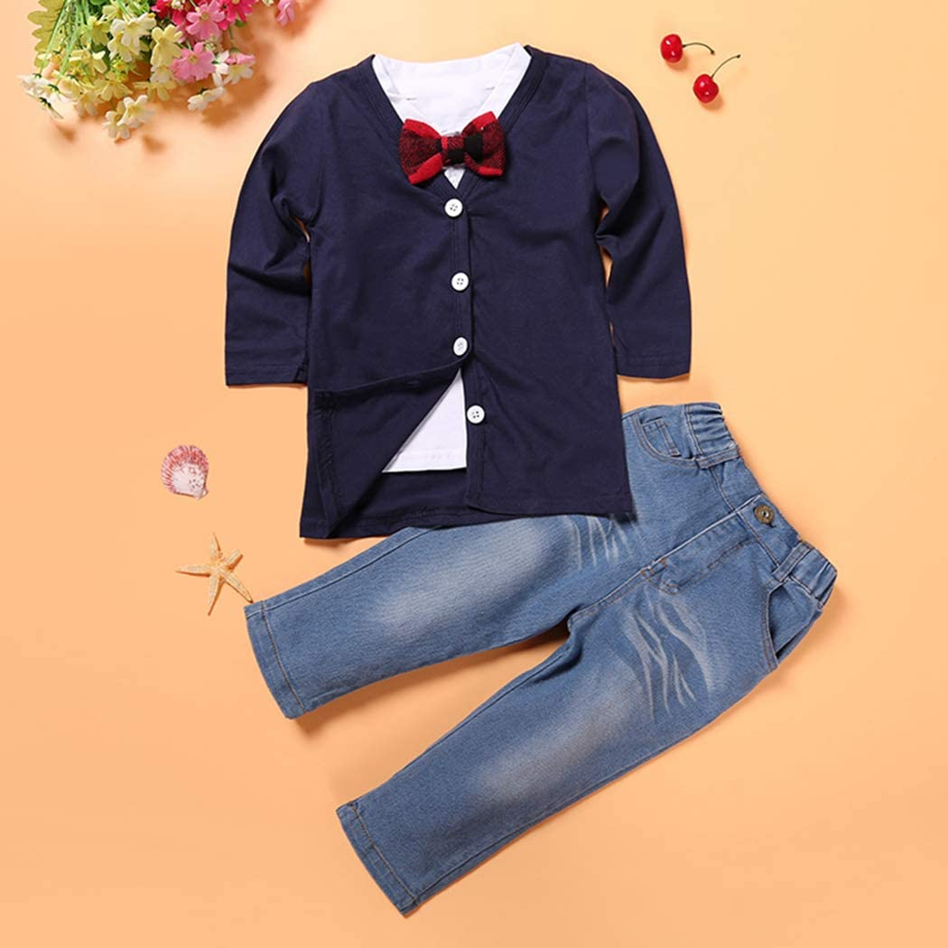T-Shirt Suspender Jean Sets MYGBCPJS 3Pcs Boy Handsome Outfit Set Plaid Shirt