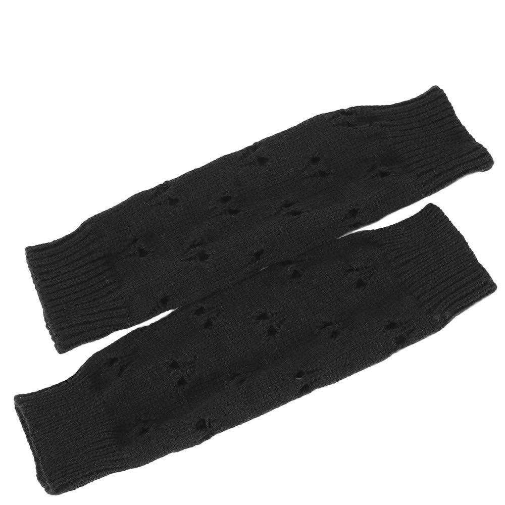 Women Winter Wrist Arm Warmer Solid Knitted Long Fingerless Gloves Mitten
