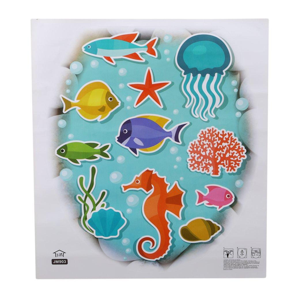 Eleusine Underwater World Ocean Style Toilet Lid Sticker Bathroom Decors