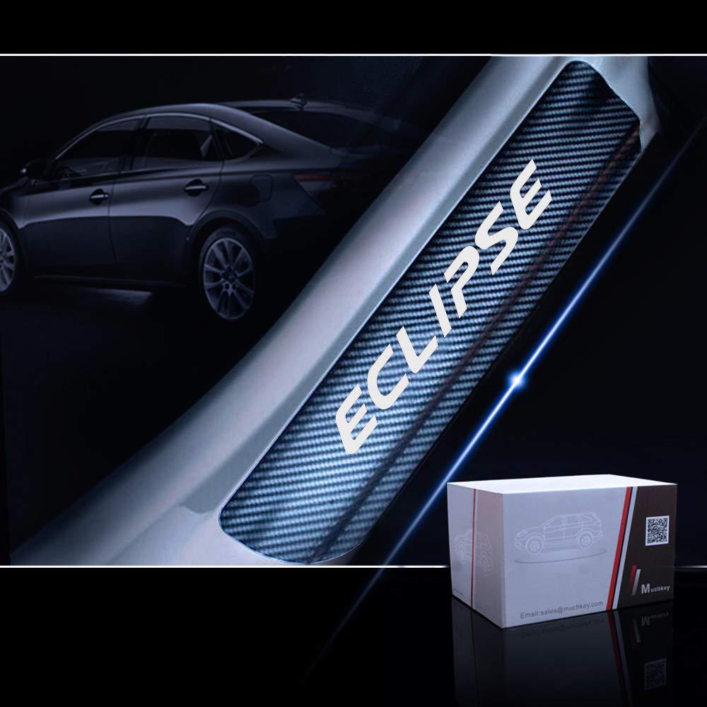 for Mitsubishi Eclipse Door Sill Protector Reflective 4D Carbon Fiber Sticker Door Entry Guard Door Sill Scuff Plate Stickers Auto Accessories 4Pcs White