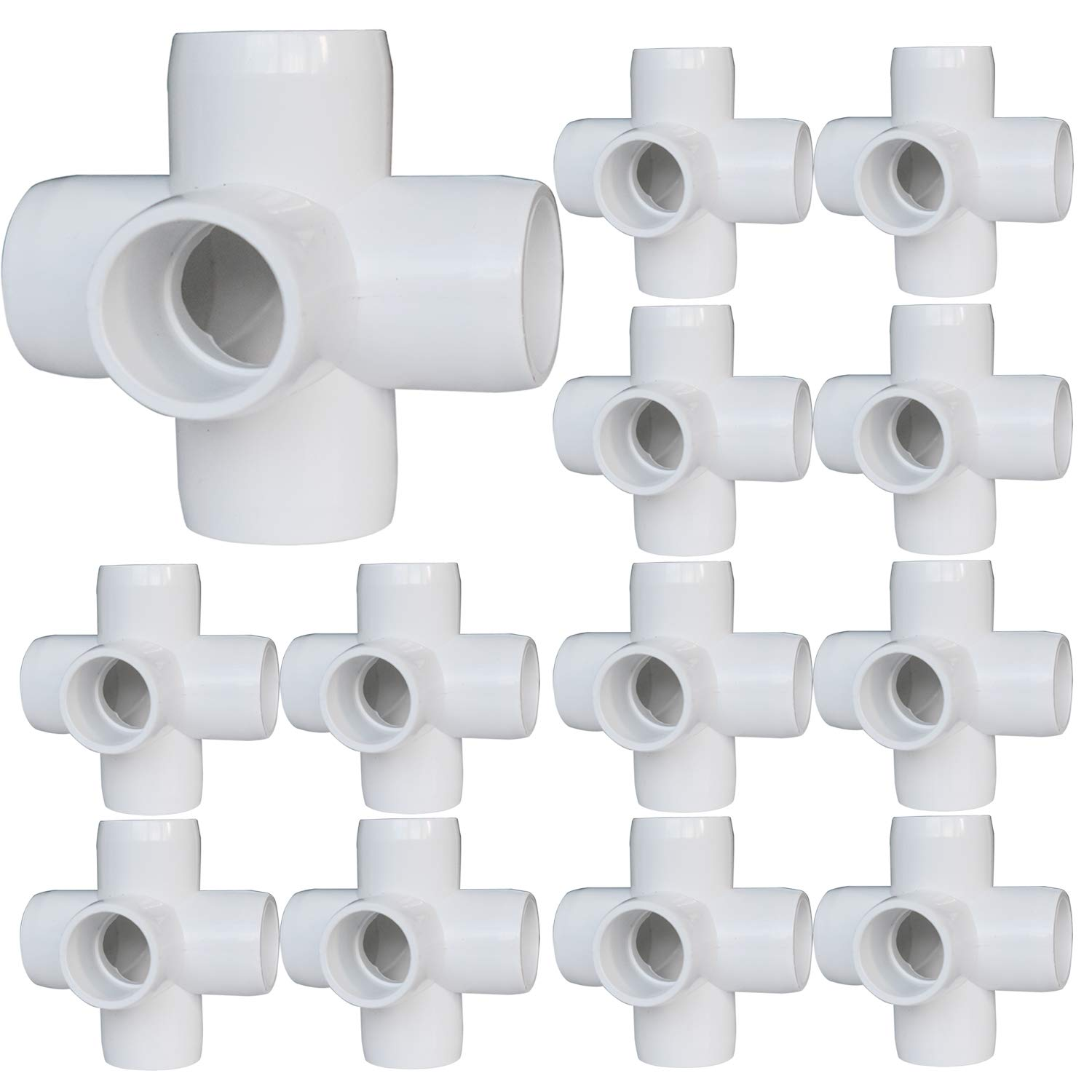 12Pack 5-Way Elbow PVC Fittings, 1/2Inch Furniture PVC Fittings, 5 Way Side Outlet Tees, PVC Corner Fittings for Building PVC Furniture Greenhouse Shed Pipe Fittings Tent Connection