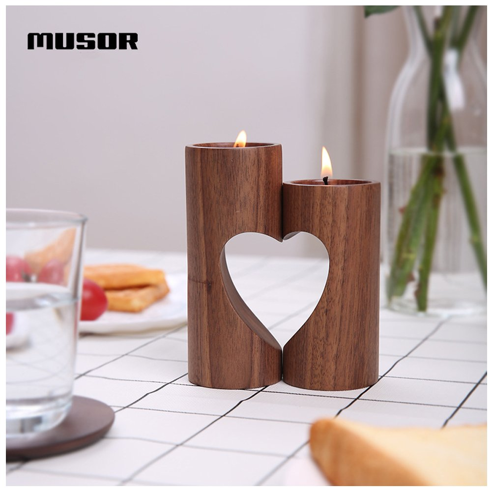 Aromatherapy Heart-Shaped Set Spa Home Party Handmade Natural Wood Tea Light Candle Holders for Wedding Reiki Musor Wooden Candle Holders Votive Candle Gardens YamaziHD