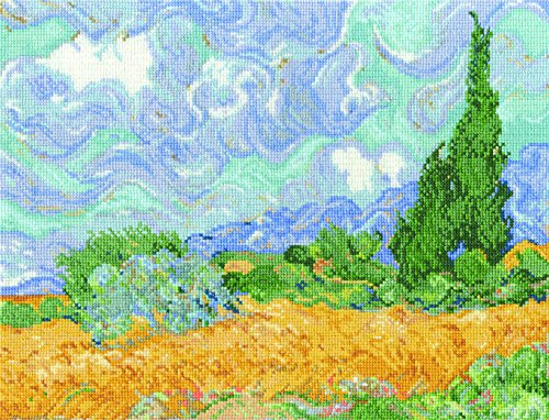 (DMC BL1067/71 16 Count Van Gogh's A Wheatfield W/Cypresses Counted Cross Stitch Kit, 11.5